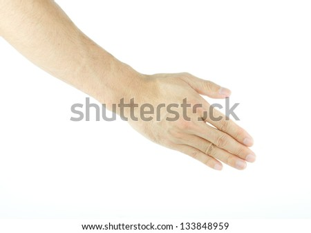 Male hands ready to handshake isolated on white background