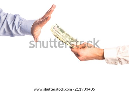 Male hands rejection bribe isolated on white background - stock photo