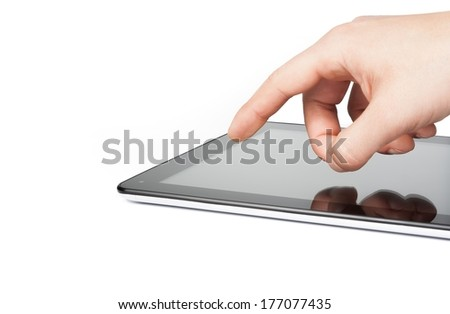 male hands using tablet pc on white background, with space for text - stock photo