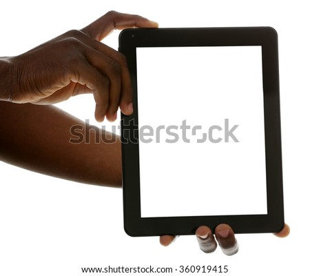 Male hands with tablet isolated on white background, close up
