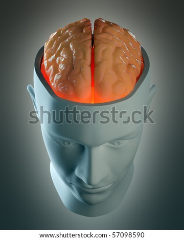 Male head abstract with a visible brain - stock photo