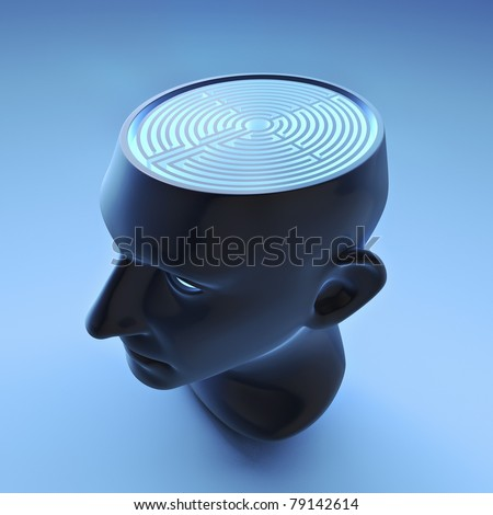 Male head face with labyrinth brain - stock photo