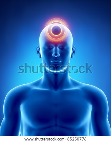 Male head pain anatomy of human organs in x-ray view - stock photo