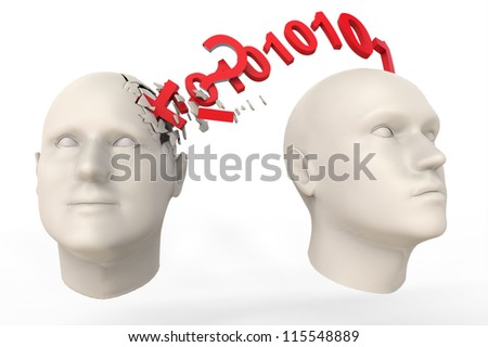 Male head with Numbers and Mathematics - stock photo