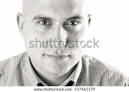 Male high key portrait. Young adult man close up portrait in high key. - stock photo