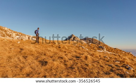 Male hiker at the mountain top