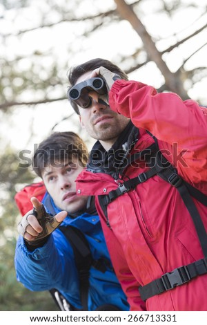 Male hiker using binoculars while friend showing him something in forest - stock photo