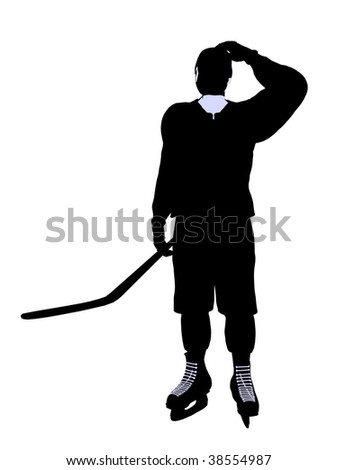Male hockey art illustration silhouette on a white background