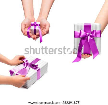male holding gift box with a bow isolated on white background - stock photo