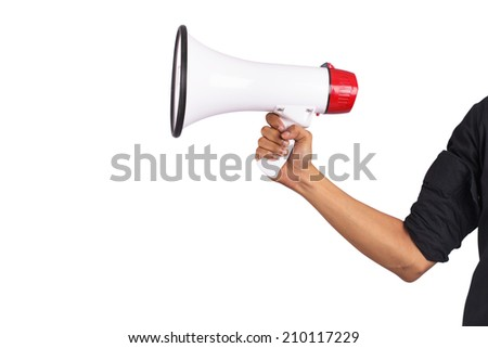 Male holding megaphone on white background