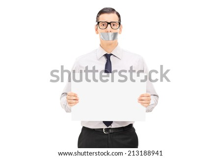 Male hostage holding a blank banner isolated on white background