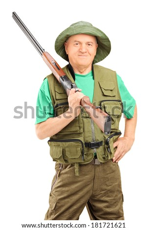 Male hunter holding a rifle isolated on white background - stock photo