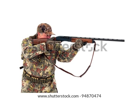 Male hunter in camouflage aiming at his target or prey with his gun.Isolated on white background - stock photo