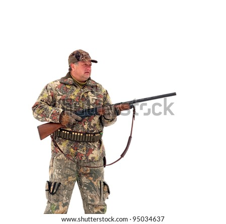 Male hunter in camouflage,holding his gun and looking for his target or prey .Isolated on white background - stock photo