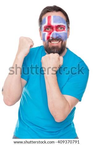 male Icelandic fan is happy, concept soccer - stock photo