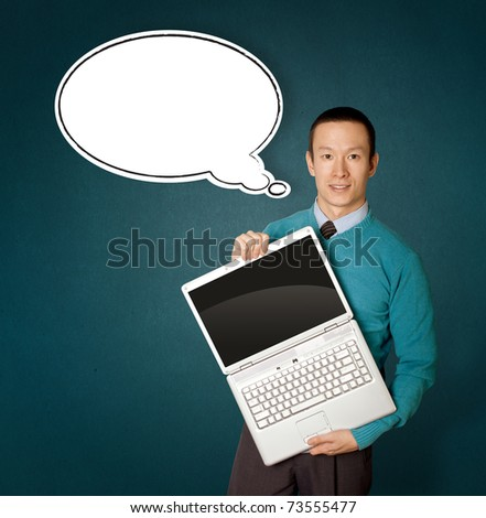 Male in blue with open laptop in hith hands and comics bubble - stock photo