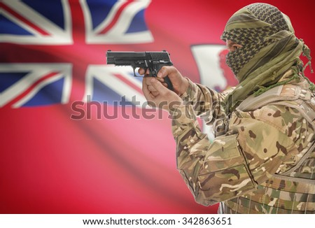 Male in muslim keffiyeh with gun in hand and national flag on background series - Bermuda