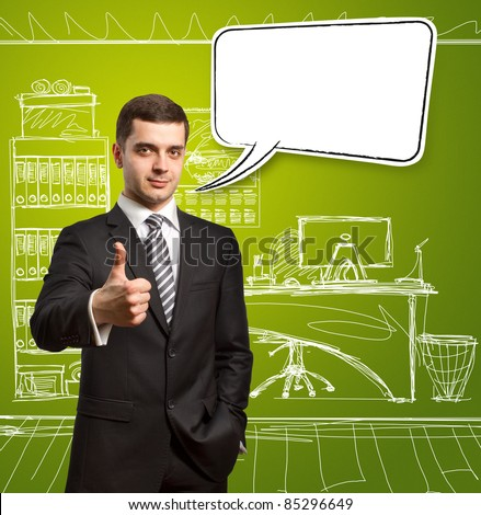 male in suit with crossed hands and thought bubble, looking on camera - stock photo