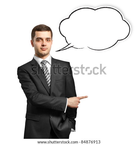 male in suit with showing finger and speech bubble, looking on camera - stock photo