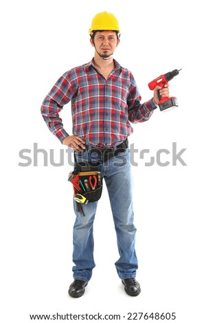 Male isolated on white with tool belt on ready to work.