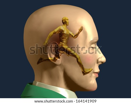 male Jogger inside a male Head, brain jogging
