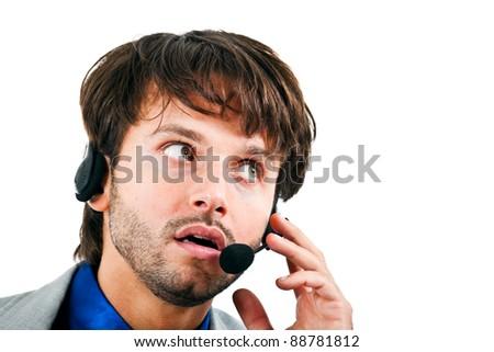 Male journalist wearing headphones - stock photo