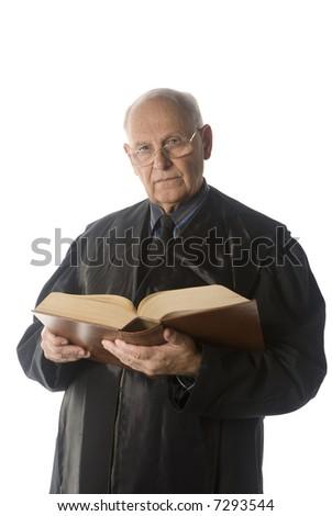 male judge portrait over a white background - stock photo