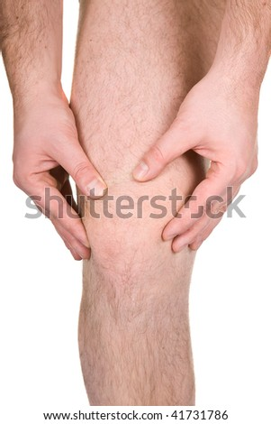male knee on white background - stock photo