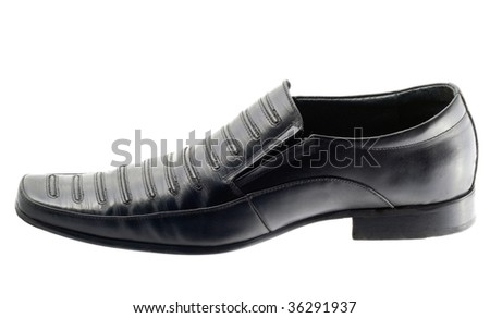 Male leather shoes black close-up isolated on white background