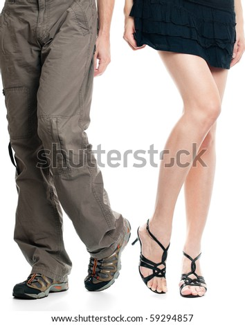 male legs and sexy female legs isolated on white background - stock photo