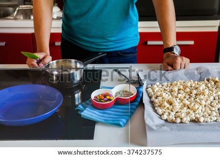 Male Making Sweet Popcorn