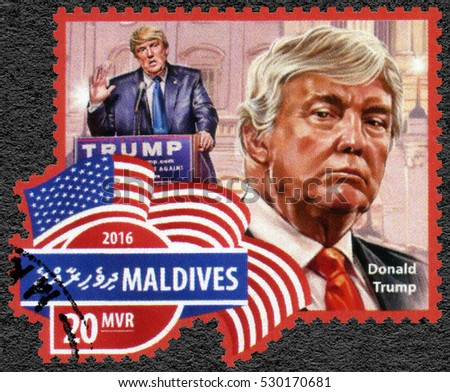MALE, MALDIVES - JULY 04, 2016: A stamp printed in Maldives shows Donald John Trump (born 1946) American businessman, politician, and President-elect of the United States.