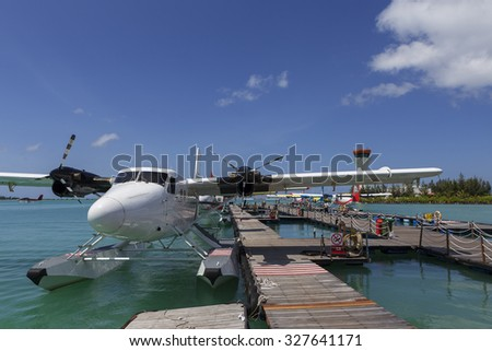 Male Maldives - June 14 2015 : Seaplane harbor of any Maldivian airways operating out of Ibrahim Nasir airport in Male, Maldives, provides services to several island resorts