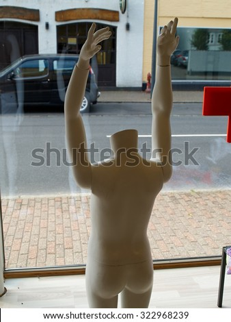Male man  mannequin, manikin, figure in a funny situation - stock photo
