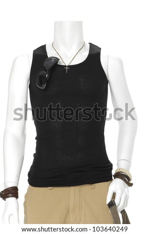 male mannequin dressed in black t- shirt with sunglasses