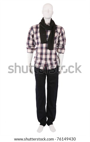 Male mannequin dressed in fashionable clothes, isolated on white - stock photo