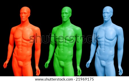 Male mannequins performed as RGB colors. Isolated on black background. - stock photo