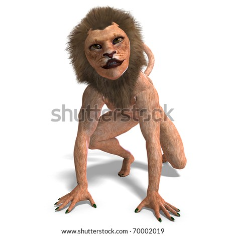 Male manticore fantasy creature 3d rendering with clipping path and