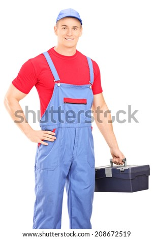 Male mechanic holding a toolbox isolated on white background - stock photo