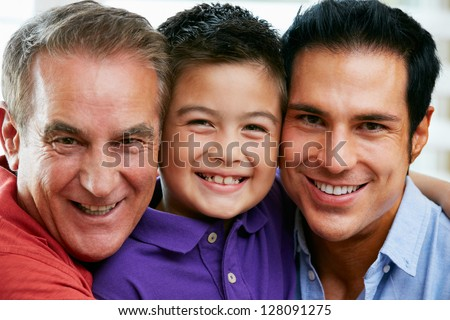 Male Members Of Multi Generation Family At Home - stock photo