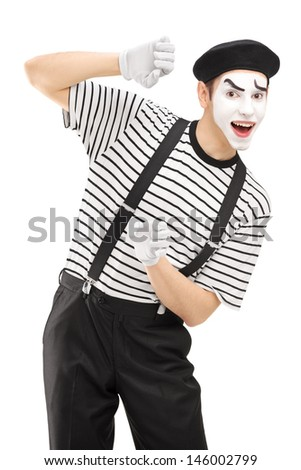 Male mime artist gesturing isolated against white background - stock photo