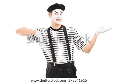 Male mime artist gesturing with hand isolated against white background - stock photo
