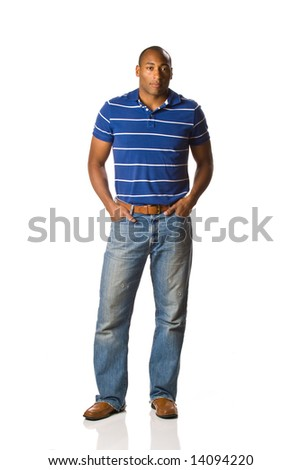 Male Model, African American. On white, full length earing casual clothes