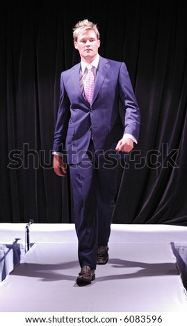Male model at fashion show - stock photo
