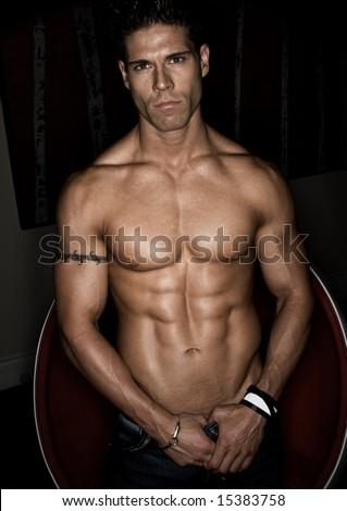 Male Model Bodybuilder - stock photo