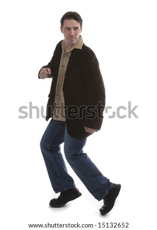 Male model in Casual clothes over white background