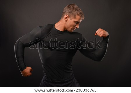 Male model in compression t-shirt
