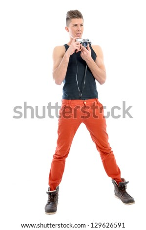 Male model is holding the camera - stock photo