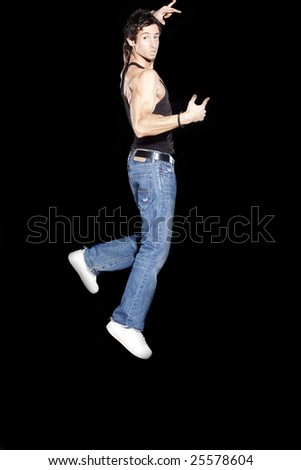 Male Model Jumping - stock photo