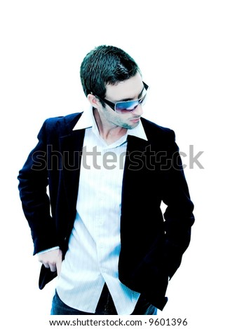 Male model looking down (extreme lights) - stock photo